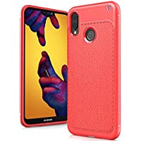 "Huawei P20 Lite Funda, Carcasa Caso Cubierta de Protección de Litchi Textura TPU Silicona para Huawei P20 Lite 5.84"" Smartphone, Litchi Rojo"