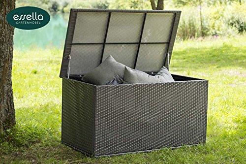 Polyrattan Kissenbox XL - Flachgeflecht - Grau - Gartenmöbel - Terassenmöbel