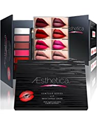 Aesthetica Matte Lip Contour Kit - Contouring and Highlighting Matte Lipstick Palette Set - Includes Six Lip Crèmes, Four Lip Liners, Lip Brush