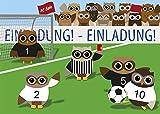 10 Einladungskarten Fußball Eulen