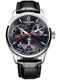 Carnival - Reloj de Pulsera para Hombre (Piel, Calendario, dinámico, Esfera horaria