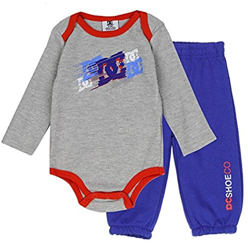 DC Shoe Co Baby Long-Sleeve Thermal Bodysuit and Pants Set, Grey, 6/9M - Dc Thermal