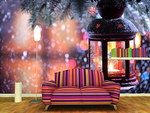 Meaosy Custom 3D Mural Feiertage Weihnachten Kerzen Zweige Straßenlaternen Tapeten Wohnzimmer Tv Sofa Wand Schlafzimmer Restaurant Wandbilder-280X200Cm