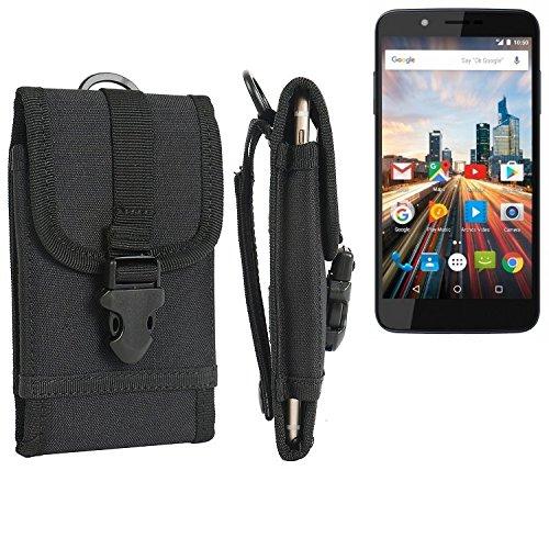K-S-Trade Handyhülle für Archos 55 Helium 4Seasons Gürteltasche Handytasche Gürtel Tasche Schutzhülle Robuste Handy Schutz Hülle Tasche Outdoor schwarz