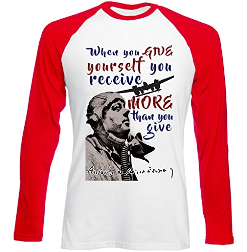 Teesquare1st Men's ANTOINE DE SAINT-EXUPERY RECEIVE QUOTE Red Long Sleeved T-shirt