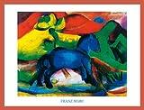 Franz Marc Pferde Blaues Pferdchen Poster Kunstdruck Bild mit Holz Rahmen in Orange