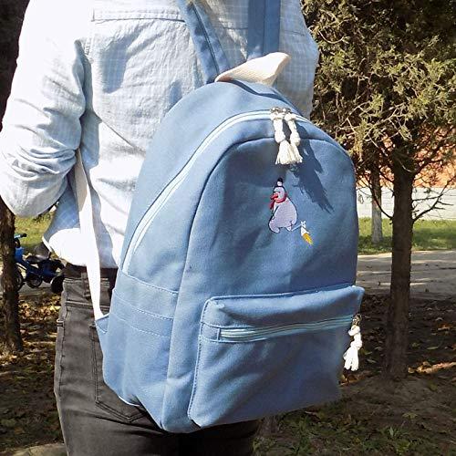 YZBB Neue Bestickt Leinwand Umhängetasche Geschenk Brieftasche, eine koreanische Version der Schultasche, Student Paket Tour Tasche Liebhaber, Cowboy blau Schneemann