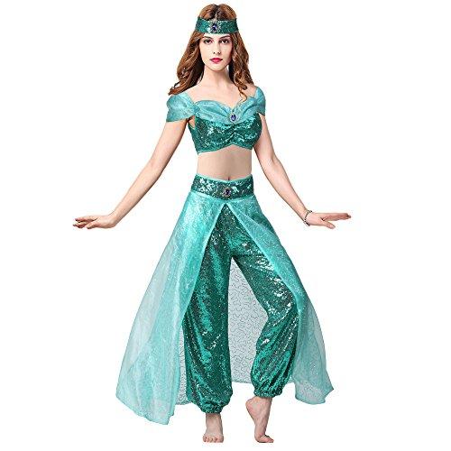 Pettigirl Damen Halloween Kostüm Prinzessin Pailletten Schick Cosplay -
