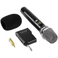 UHF Funkmikrofon Kabellos Mikrofon,  Karaoke Wireless Mikrofon Funk Microphone mit Empfänger für Meetings Reden Konferenzen Hochzeiten(Mit 3.5mm Audio Adapter & Mic Windschutz)