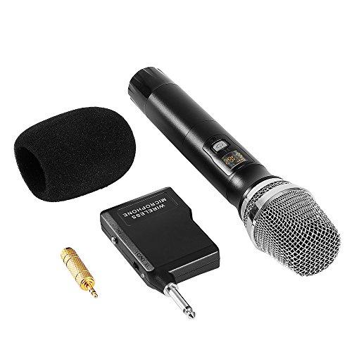 Micrófono Dinámico Inalámbrico, UHF Microphone de Mano Profesional Vocal con Receptor Portátil 6.35mm o 3.55mm Audio Puertos para Karaoke, DJ, Fiesta, Reunión, Ceremonia de Boda y Más, Negro