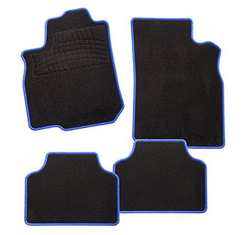 CarFashion 243947 Calypso Blau C03, Auto Fussmatte in schwarz, Automatten, schwarzer Trittschutz, blaue Hochglanz Kettelung, Auto Fussmatten Set ohne Mattenhalter