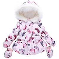 Arrowhunt Little Girls' Butterfly Printed Padded Hooded Winter Down Coat with Gloves