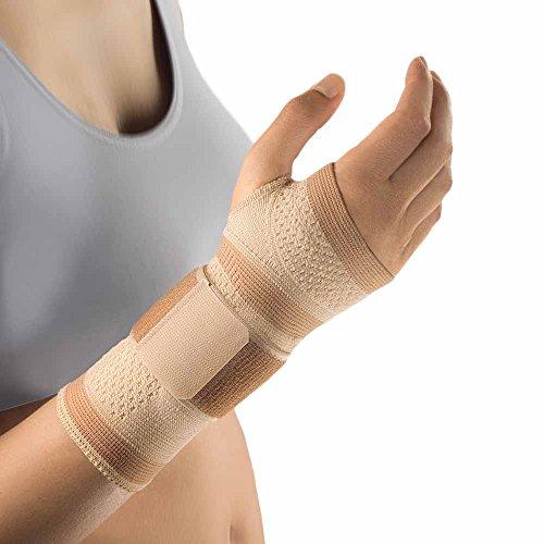 Bort ManuBasic® kompriemierende Handgelenk Bandage Had Gelenk Stütze Pelotte, hautfarben, L, Rechts