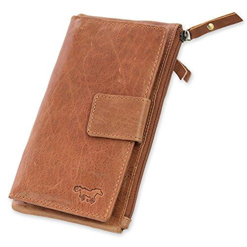 Safekeepers Leder Damengeldbörse – Portemonnaie mit Handyfach und Clipverschluss für Iphone 8 – große Damen geldbörse mit Vielen kartenfächern: 24 Kredit- / Debitkarten Münze und Rechnungen