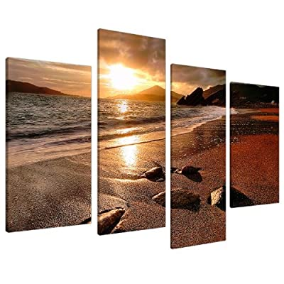 Large Sunset Beach Canvas Wall Art Pictures Living Room Prints XL 4131 - inexpensive UK canvas store.