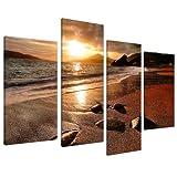 Wallfillers Cuadros en Lienzo Grande Amanecer Playa Set de Imágenes XL Pared sala de Estar 4131
