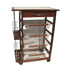 Idea Regalo - Beca carrello da cucina portabottiglie in legno noce 4 cassetti portafrutta 37 x 57 x 83h