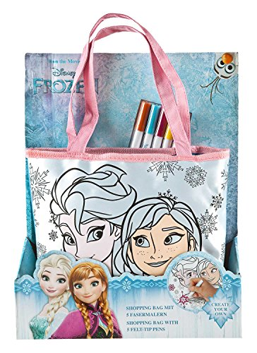 (Undercover FRQA2440 - Shopping Bag zum Bemalen, Disney Frozen inklusive 5 Fasermalern)