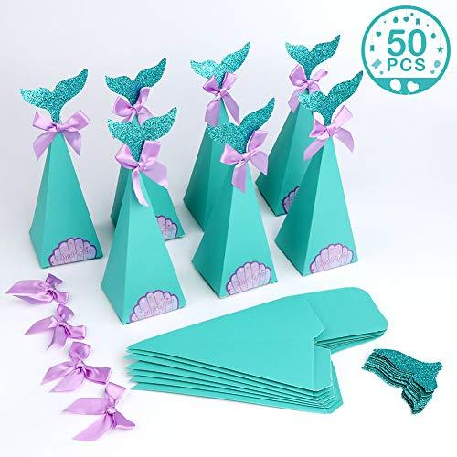 u-Geschenkboxen, Satz von 50 dekorative Meerjungfrau Mitbringsel Box Candy Papiertüten für Kinderparty Baby Shower Mermaid Party Supplies (blau, 4,5