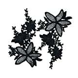 #6: MagiDeal 1 Pair Black/White Floral Flower Lace Trim Embroidery Sewing Applique Dress Craft - black, as described