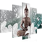 Bilder Buddha Blumen Wandbild 150 x 100 cm Vlies - Leinwand Bild XXL Format Wandbilder Wohnzimmer Wohnung Deko Kunstdrucke Blau 5 Teilig -100% MADE IN GERMANY - Fertig zum Aufhängen 505653b