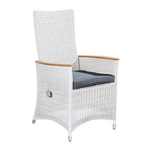 Verstellbarer Dining Sessel weiß mit Teakarmlehne und Alurahmen für Garten Terrasse Balkon Wintergarten (4 Stück)
