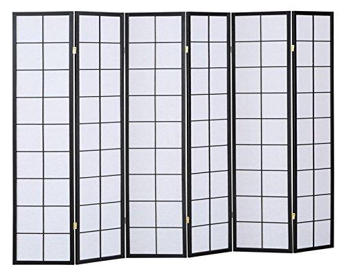 PEGANE Biombo japonés Shoji madera color negro 6