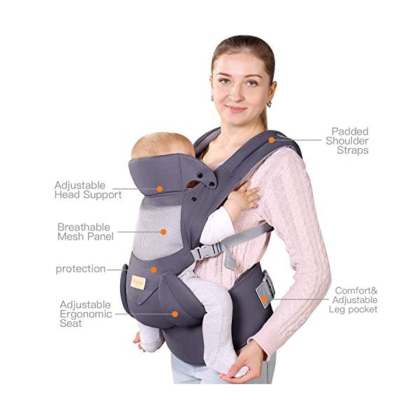 Infant Toddler Baby Carrier Wrap Backpack Front and Back, Hip Seat & Hood, Soft & Breathable Cotton, Cool Air Mesh, Grey tiancaiyiding ❤ Ergonomic Design: Wide and thick backpack straps help relieve stress . Easy to put on or take off. ❤ M shape Position: Stop hurting your baby's legs. Keep blood circulation in normality. ❤ All-round Support: Simple and thus strong structure. 360° wraps the baby against falling out. Collapsible hood for wind and sun protection 5