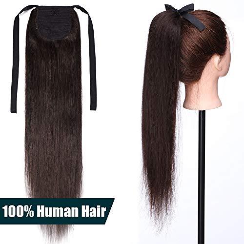 50cm coda capelli extension veri clip #2 castano scuro - 100% remy human hair lisci lunghi naturali coda di cavallo fascia unica tie up updo 95g