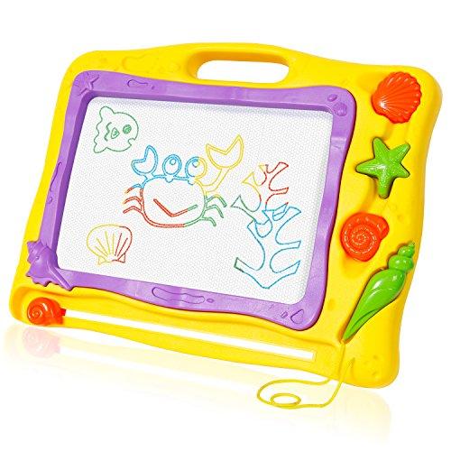 SGILE Zaubermaltafel Bunt Magische Zeichentafel Magnetisch Löschbar Zeichenbrett Baby/Kinder-Fähigkeit-Entwicklung Lerntafel Reißbrett Kindergeschenk (Gelb)