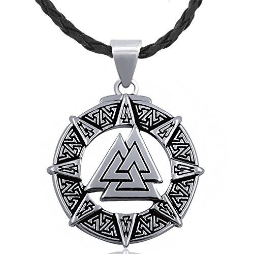 MESE London Odins Symbol-Halskette Viking Silber Amulett - Elegante Geschenkbox