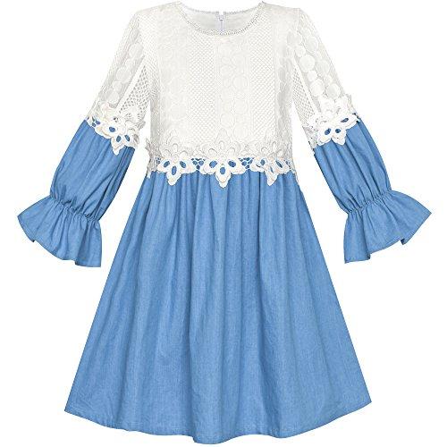 Sunny Fashion Vestido para Niña Largo Manga Blanco Encaje Azul Una Línea Colegio Uniforme 12 Años