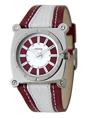 Moog Paris Fashion Montre Femme/Homme avec Cadran -, Eléments Swarovski, Bracelet Rouge et Blanc en Cuir Véritable - M45512-004