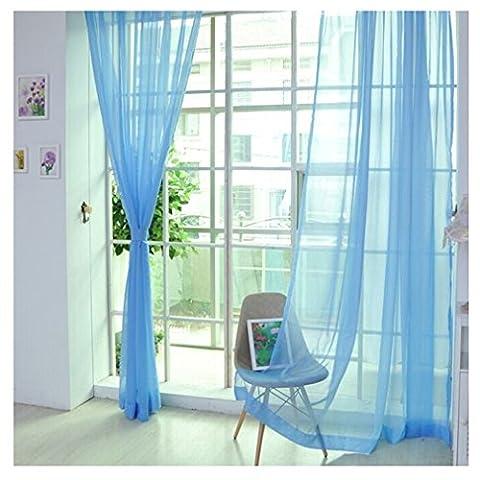 2er Pack Voile transparent Übergardinen Gardine Vorhang Stores Raumteiler Fensterschal Dekoschal Voile 200x100 cm