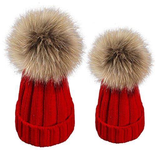 ZLFT Eltern-Kind Mama und Baby Familie Twist Stricken Keep Warm Hut Kopf Cap (Red) (Jungen Kabel Stricken)