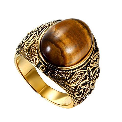 OIDEA Edelstahl Ringe Gold für Herren Damen, Vintage Künstliches Tigerauge Ringe Edelstahlring Herrenring Ringgrößen 57 (18.1)
