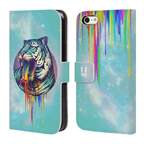Head Case Designs Einhorn Regenbogenkotze Brieftasche Handyhülle aus Leder für Apple iPhone 6 / 6s Tiger