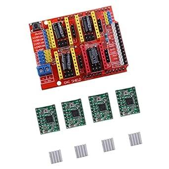 Segolike CNC Shield Board+A4988 Stepper Motor Driver+Heatsink for Arduino V3 Engraver
