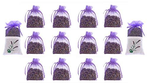 12 Reine Lavendel Trocken Blumen 10 Gramm Beutel – Gemütliche Beutel gefüllt mit getrockneten Lavendel Knospen – Natürlicher Duft für Aromatherapie – Auto – Schrank – Schublade – Motten - Garderobe (Nachttische Unter $100)