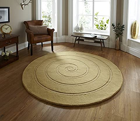 Spiral Hand Tufted 100% Wool Rug Modern Textured Round Large Floor Mat 140cm Circle (Gold)
