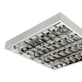 Lot de 2 Appareil fluorescent saillie 4x18W blanc grille aluminium électronique 230V