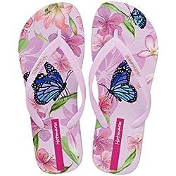 Hotmarzz Chanclas de Playa Sandalias Mujer Verano Pantuflas Animales Mariposa Floral Goma Slides Zapatillas de Casa Piscina Ducha Size 38 EU / 39 CN, Rosa