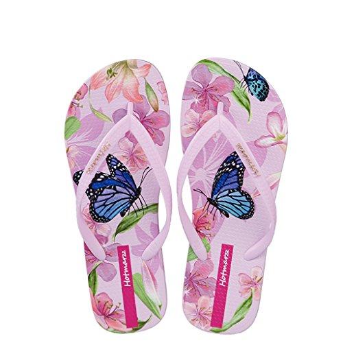 Hotmarzz Chanclas de Playa Sandalias Mujer Verano Pantuflas Animales Mariposa Floral Goma Slides Zapatillas de Casa Piscina Ducha Size 36 EU / 37 CN, Rosa