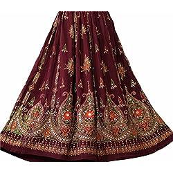 Dancer World Falda larga con lentejuelas, estilo bohemio, para danza del vientre, granate