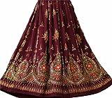 Dancer World langer Damenrock mit Pailletten im indischen Boho-Hippie-Stil für Zigeuner- und Bauchtänze, IC-FR-SKT-21, kastanienbraun