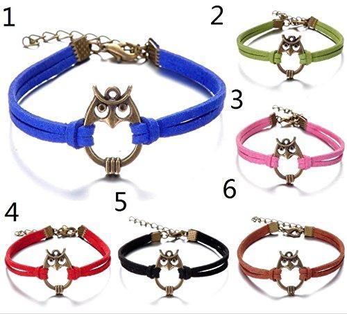 Infinite U (Achetez 1 obtenez 2) Hibou Artificiel Petit Cordon en Cuir Femme Bracelet/Bangle Argent Antique-6 Couleurs Options Vert
