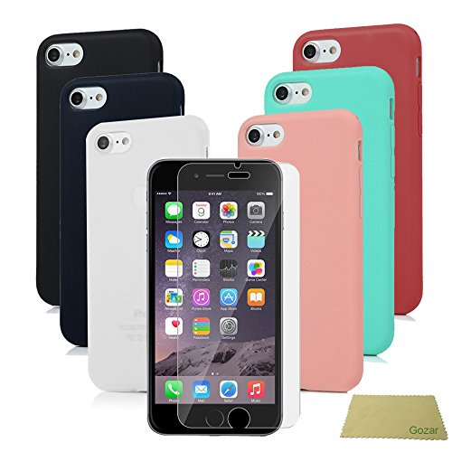 adfb2652996 iPhone 6s Funda Silicona, Carcasa iPhone 6 Ultrafina Mate Gel + Pretector  Pantalla Cristal Templado