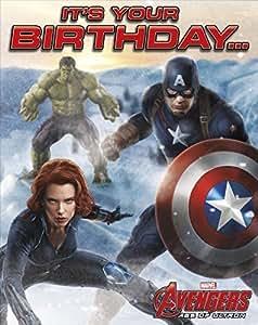 Avengers âge de Ultron It's Your Birthday... Black Widow Captain America Hulk Carte de vœux d'anniversaire