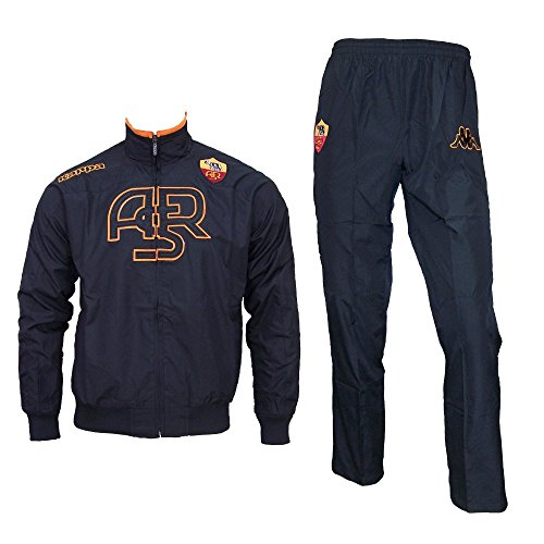 Kappa AS Rom Trainingsanzug, Farbe:Schwarz, Kinder Größen:176 (Anzug Bestickt Fussball)