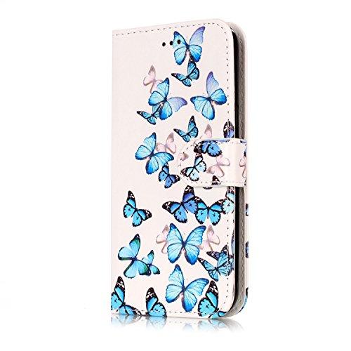Samsung Galaxy J3 Custoida in Pelle Portafoglio,Samsung Galaxy J3 2016 Cover Pu Wallet,KunyFond Lusso Moda Marmo Dipinto Leather Flip Protective Cover con Bella Modello Cover Ultra Slim Folio Bookstyl Piccola farfalla blu